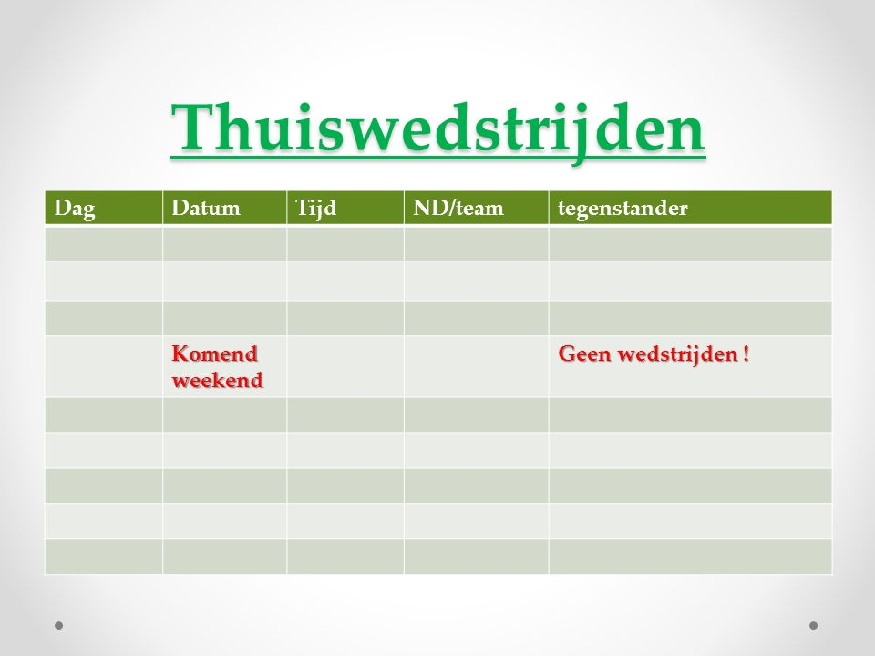 Uitwedstrijden DagDatumTijdtegenstanderND team Komend weekend Geen wedstrijden