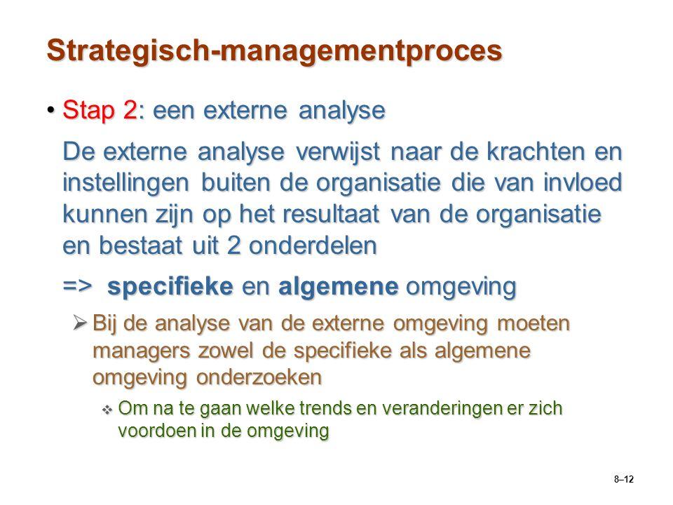 8–12 Strategisch-managementproces Stap 2: een externe analyseStap 2: een externe analyse De externe analyse verwijst naar de krachten en instellingen buiten de organisatie die van invloed kunnen zijn op het resultaat van de organisatie en bestaat uit 2 onderdelen => specifieke en algemene omgeving  Bij de analyse van de externe omgeving moeten managers zowel de specifieke als algemene omgeving onderzoeken  Om na te gaan welke trends en veranderingen er zich voordoen in de omgeving