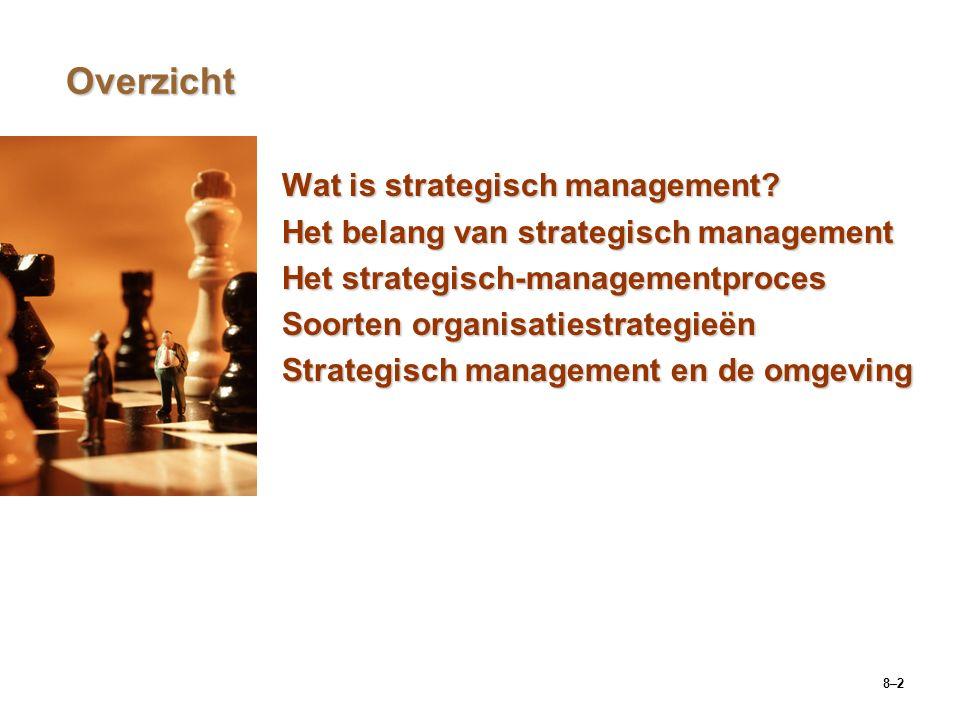 8–43 Vijf concurrentiefactoren Het onderhandelend vermogen van leveranciersHet onderhandelend vermogen van leveranciers  Deze factoren bepalen de mate van macht die leveranciers hebben over bedrijven binnen de branche.