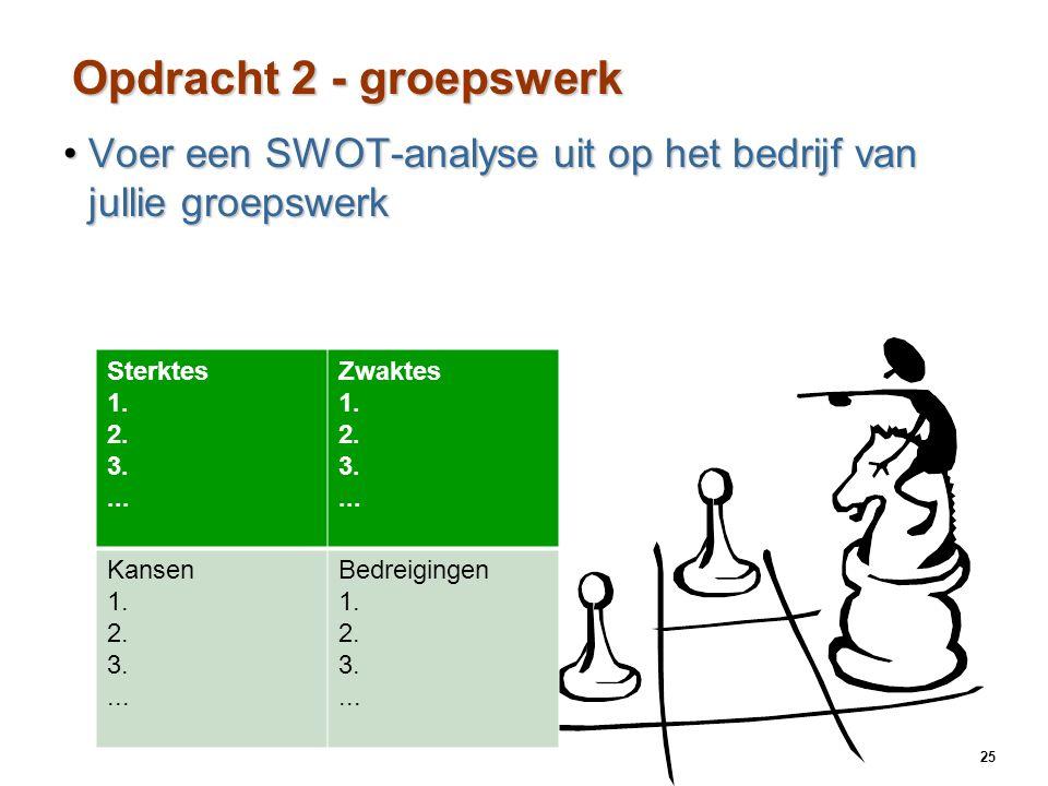 25 8 - Opdracht 2 - groepswerk Voer een SWOT-analyse uit op het bedrijf van jullie groepswerkVoer een SWOT-analyse uit op het bedrijf van jullie groepswerk Sterktes 1.