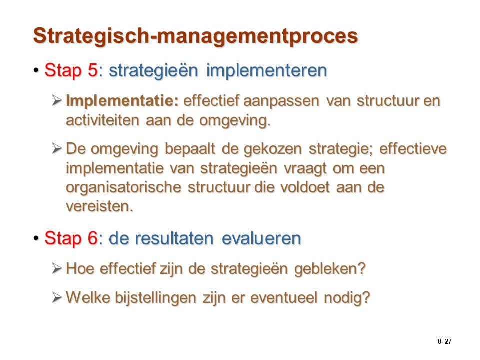 8–27 Strategisch-managementproces Stap 5: strategieën implementerenStap 5: strategieën implementeren  Implementatie: effectief aanpassen van structuur en activiteiten aan de omgeving.