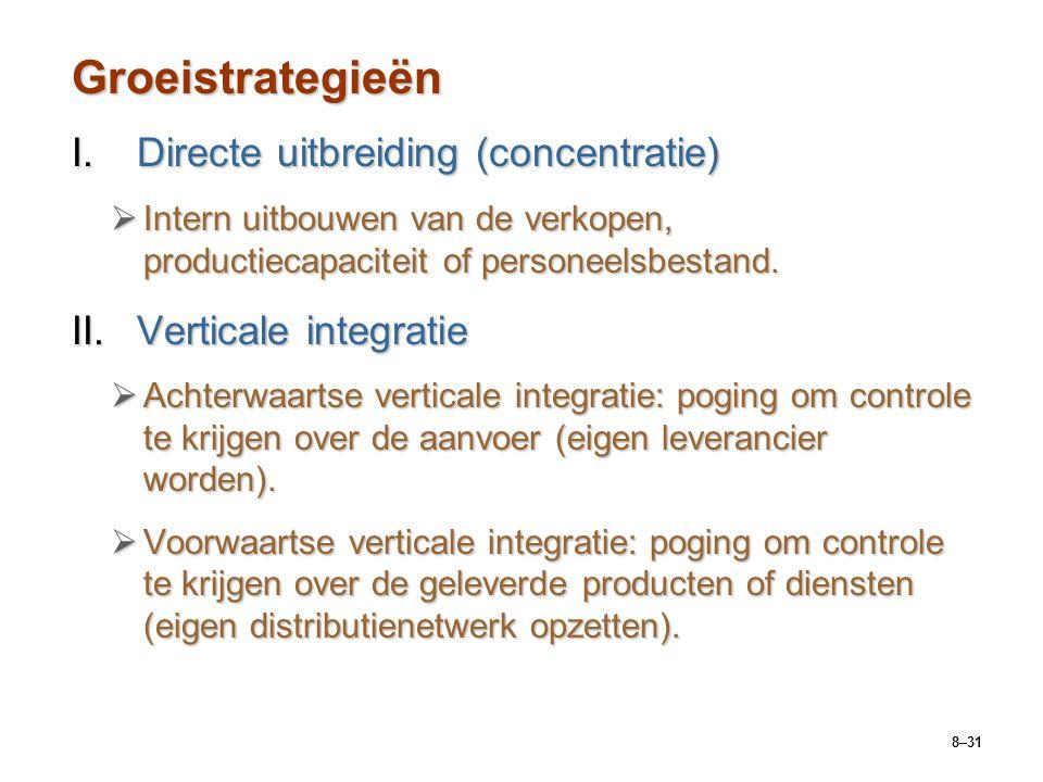 8–31 Groeistrategieën I.Directe uitbreiding (concentratie)  Intern uitbouwen van de verkopen, productiecapaciteit of personeelsbestand.