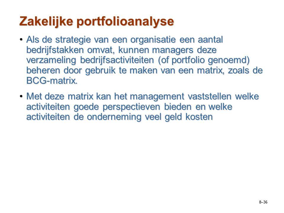 8–36 Zakelijke portfolioanalyse Als de strategie van een organisatie een aantal bedrijfstakken omvat, kunnen managers deze verzameling bedrijfsactiviteiten (of portfolio genoemd) beheren door gebruik te maken van een matrix, zoals de BCG-matrix.Als de strategie van een organisatie een aantal bedrijfstakken omvat, kunnen managers deze verzameling bedrijfsactiviteiten (of portfolio genoemd) beheren door gebruik te maken van een matrix, zoals de BCG-matrix.