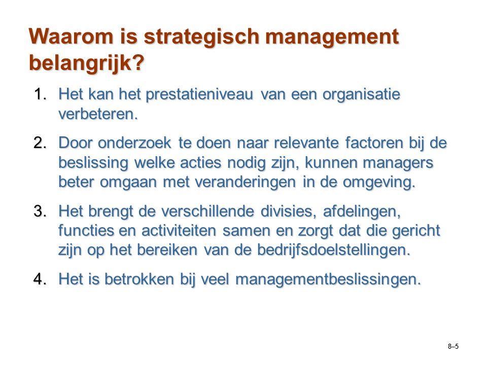 8–26 Strategisch-managementproces Stap 4: strategieën formulerenStap 4: strategieën formuleren  Ontwikkelen en evalueren van strategische alternatieven.