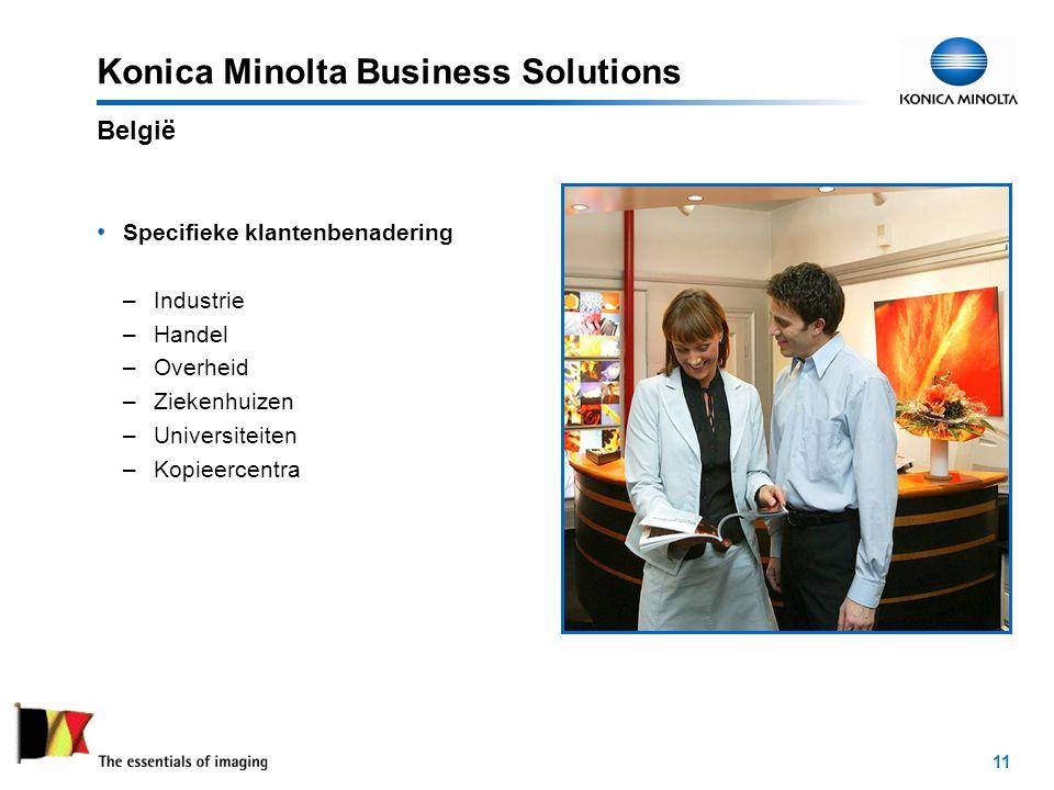 11 Konica Minolta Business Solutions Specifieke klantenbenadering –Industrie –Handel –Overheid –Ziekenhuizen –Universiteiten –Kopieercentra België