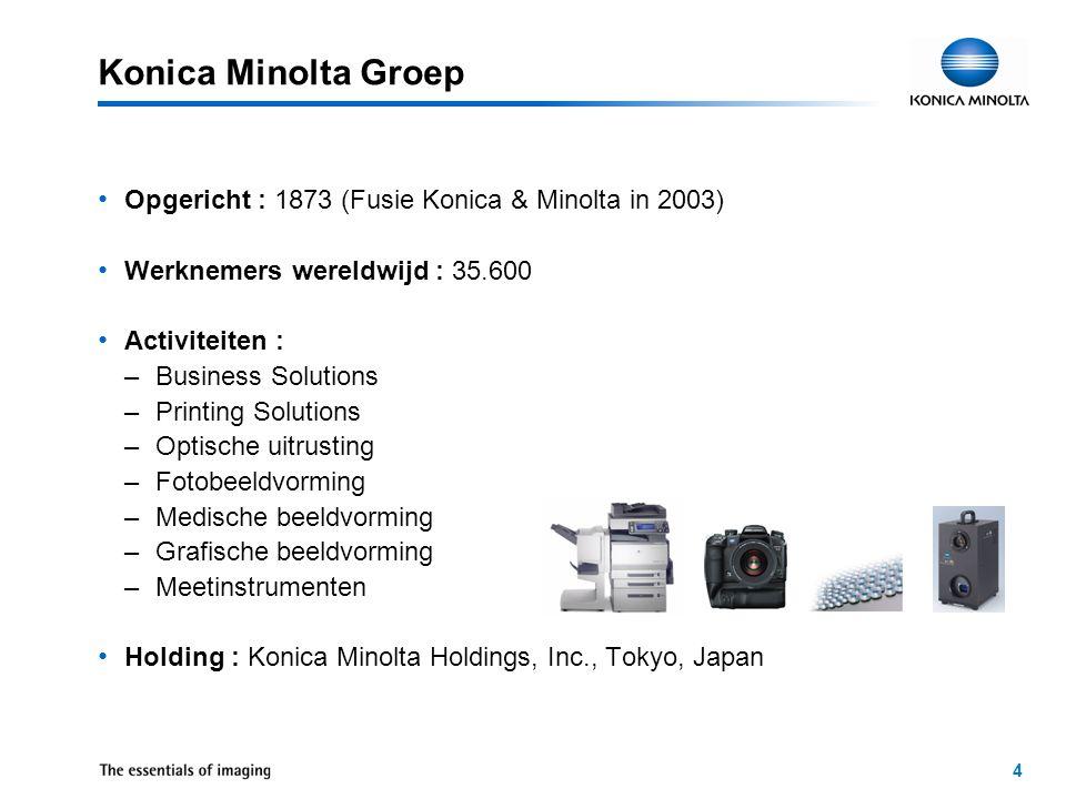 4 Opgericht : 1873 (Fusie Konica & Minolta in 2003) Werknemers wereldwijd : 35.600 Activiteiten : –Business Solutions –Printing Solutions –Optische uitrusting –Fotobeeldvorming –Medische beeldvorming –Grafische beeldvorming –Meetinstrumenten Holding : Konica Minolta Holdings, Inc., Tokyo, Japan Konica Minolta Groep