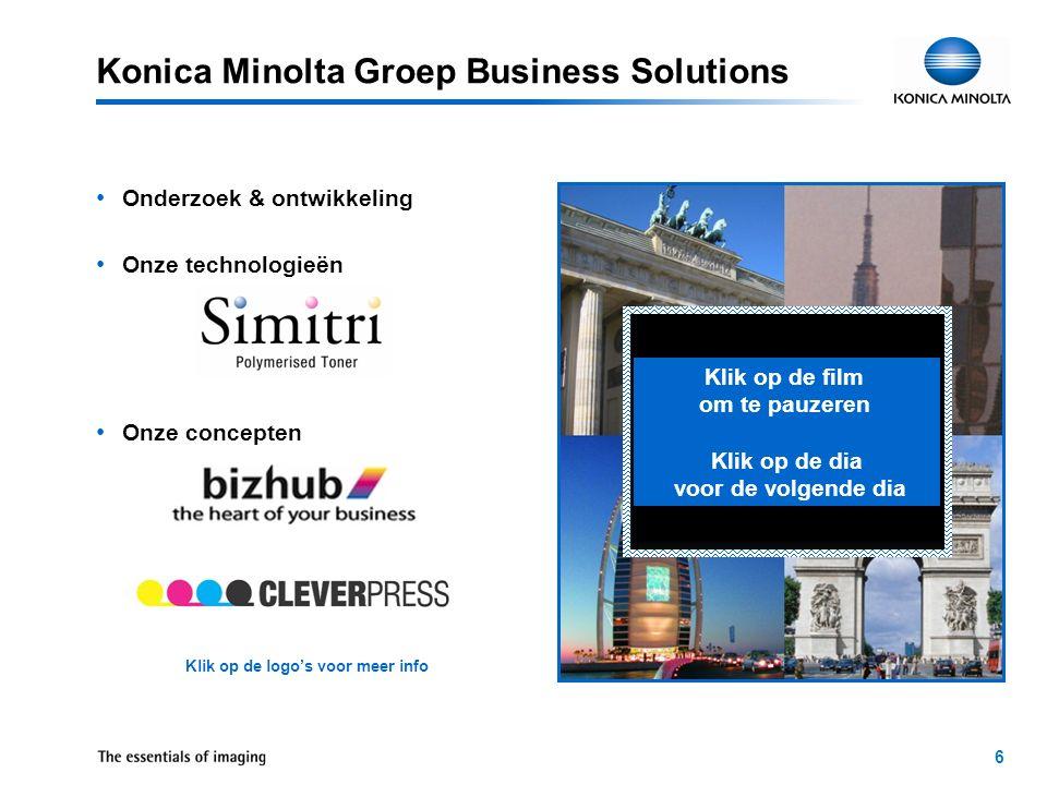 7 Konica Minolta Groep Productie –Wereldwijd meer dan 26 productiebedrijven –Blijvende vooruitgang in het automatiseren van productieprocessen en het ontwikkelen van steeds geavanceerder productietechnologieën –Alle bedrijven werken volgens strikte kwaliteitssystemen – ISO 9000, ISO 14001