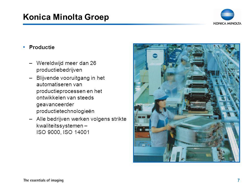 """8 Konica Minolta Groep Milieu –Kopieermachines zijn recycleerbaar –Geen afval in de 7 productiebedrijven –ISO-gecertificeerd (ISO 14001 & ISO 9000) –""""Energy Star –""""Der Blaue Engel"""