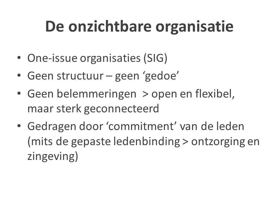 De onzichtbare organisatie One-issue organisaties (SIG) Geen structuur – geen 'gedoe' Geen belemmeringen > open en flexibel, maar sterk geconnecteerd Gedragen door 'commitment' van de leden (mits de gepaste ledenbinding > ontzorging en zingeving)
