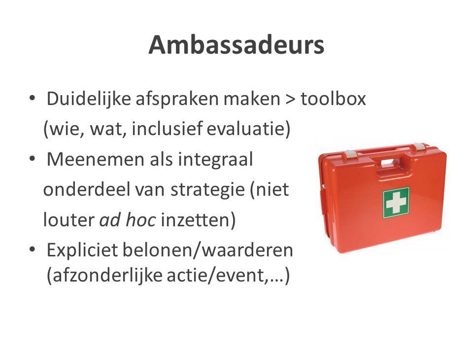 Ambassadeurs Duidelijke afspraken maken > toolbox (wie, wat, inclusief evaluatie) Meenemen als integraal onderdeel van strategie (niet louter ad hoc inzetten) Expliciet belonen/waarderen (afzonderlijke actie/event,…)