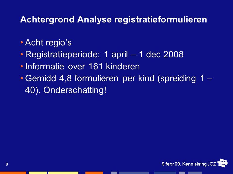 9 febr 09, Kenniskring JGZ 8 Achtergrond Analyse registratieformulieren Acht regio's Registratieperiode: 1 april – 1 dec 2008 Informatie over 161 kinderen Gemidd 4,8 formulieren per kind (spreiding 1 – 40).