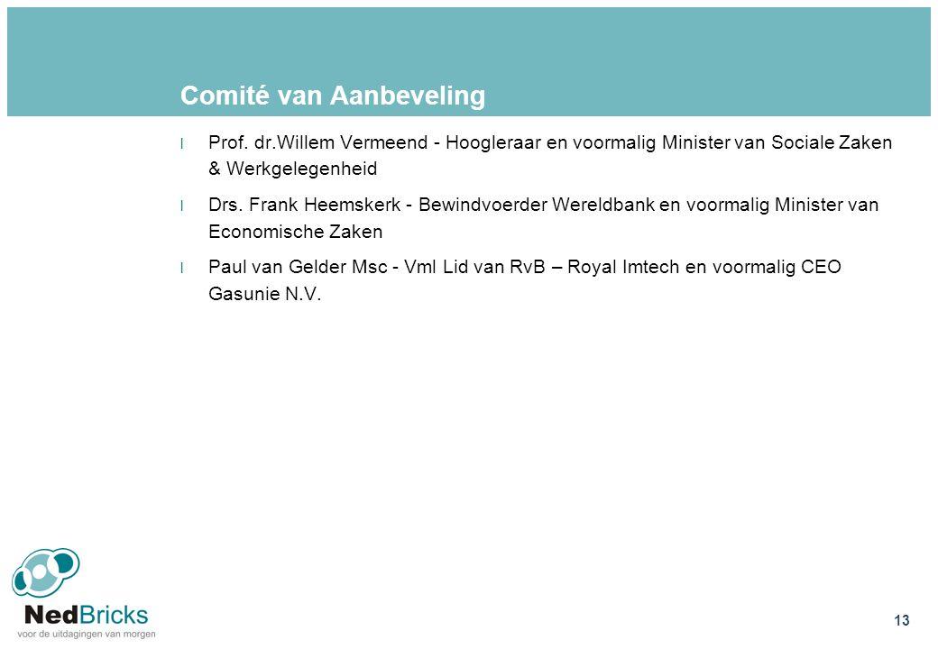 Comité van Aanbeveling l Prof. dr.Willem Vermeend - Hoogleraar en voormalig Minister van Sociale Zaken & Werkgelegenheid l Drs. Frank Heemskerk - Bewi