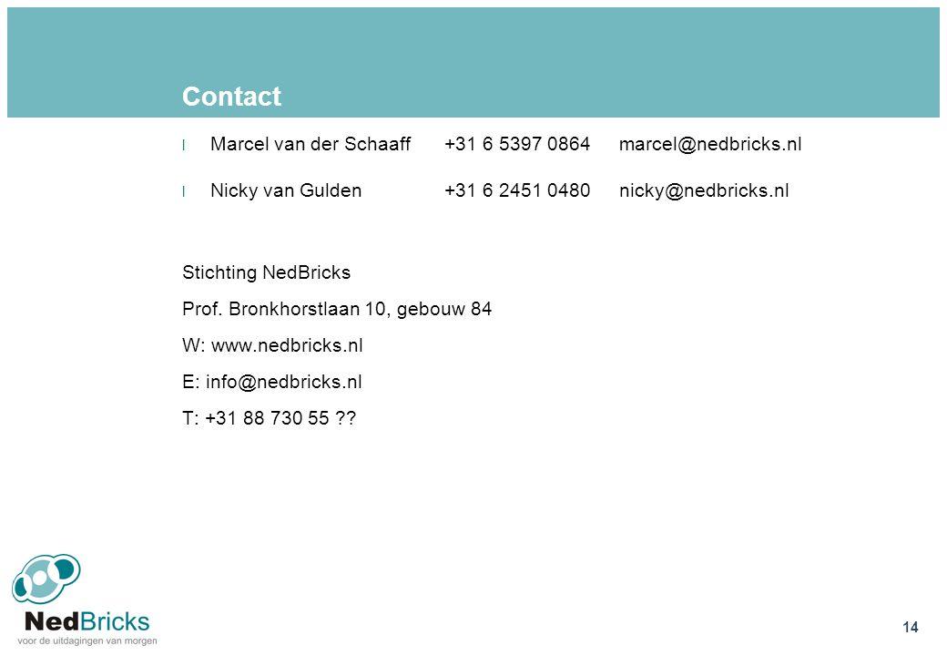 Contact l Marcel van der Schaaff+31 6 5397 0864marcel@nedbricks.nl l Nicky van Gulden+31 6 2451 0480nicky@nedbricks.nl Stichting NedBricks Prof. Bronk