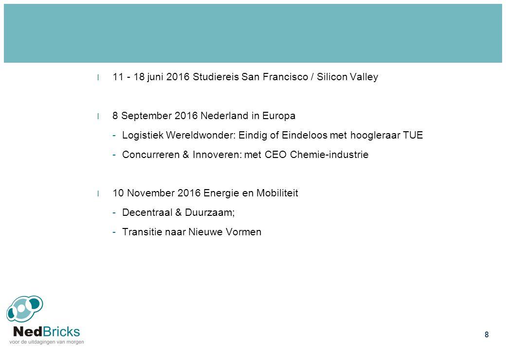 l 11 - 18 juni 2016 Studiereis San Francisco / Silicon Valley l 8 September 2016 Nederland in Europa -Logistiek Wereldwonder: Eindig of Eindeloos met