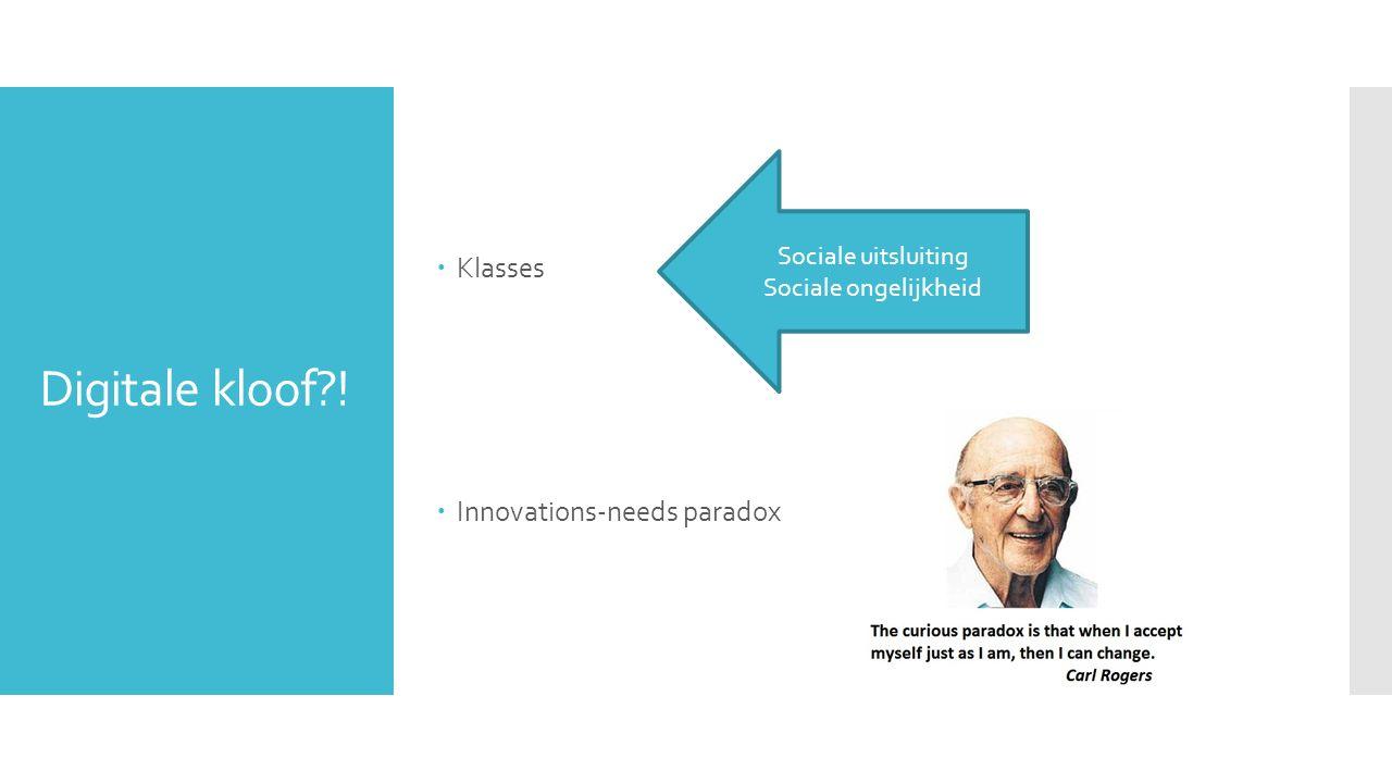Digitale kloof?!  Klasses  Innovations-needs paradox Sociale uitsluiting Sociale ongelijkheid