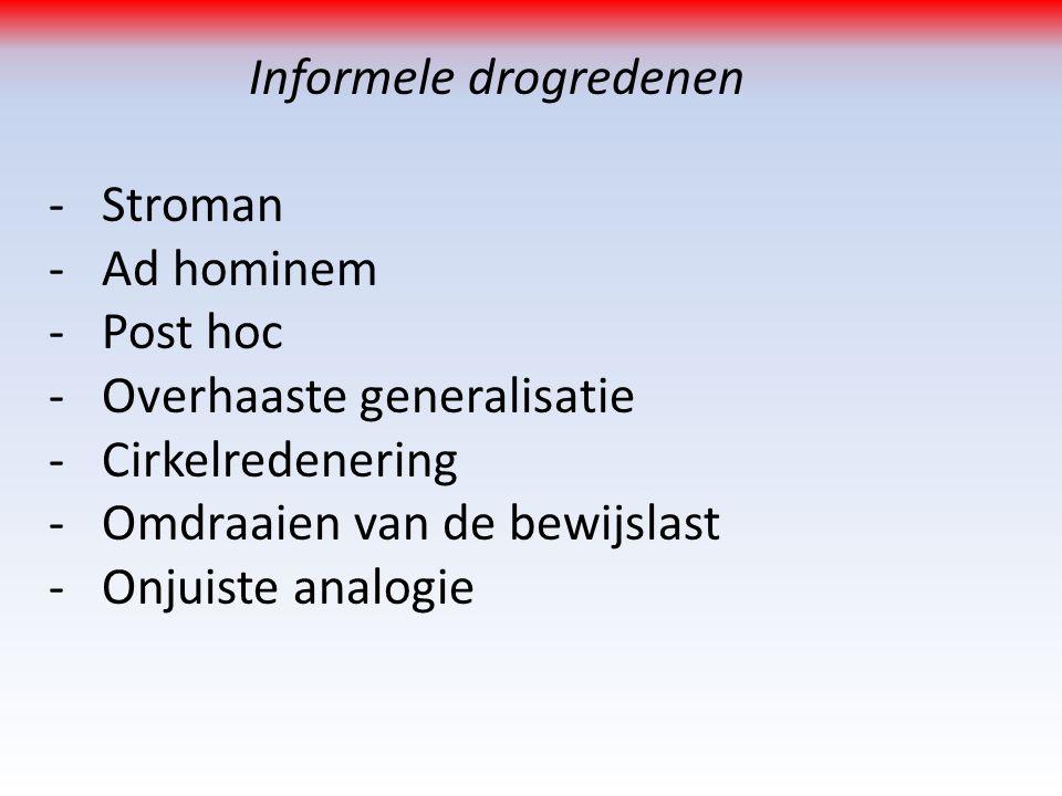 Informele drogredenen -Stroman -Ad hominem -Post hoc -Overhaaste generalisatie -Cirkelredenering -Omdraaien van de bewijslast -Onjuiste analogie
