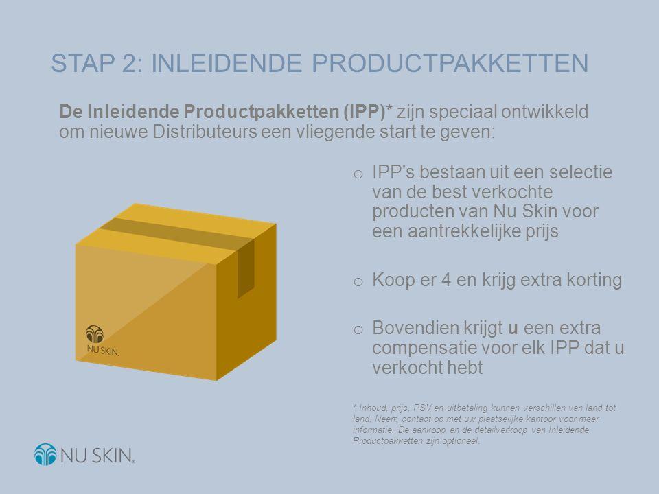De Inleidende Productpakketten (IPP)* zijn speciaal ontwikkeld om nieuwe Distributeurs een vliegende start te geven: o IPP's bestaan uit een selectie