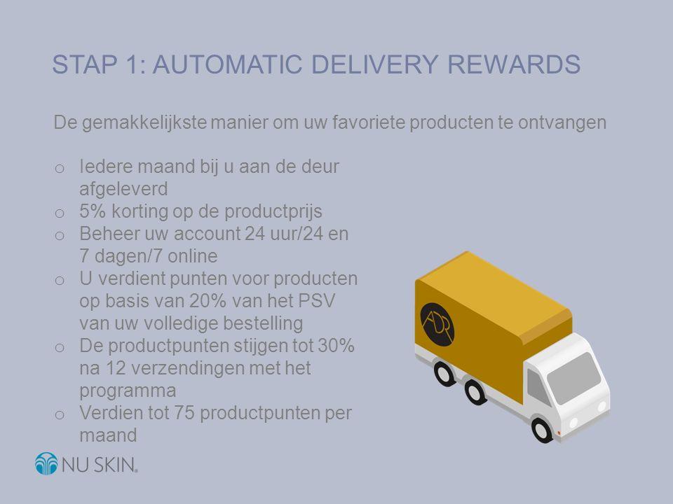 STAP 1: AUTOMATIC DELIVERY REWARDS De gemakkelijkste manier om uw favoriete producten te ontvangen o Iedere maand bij u aan de deur afgeleverd o 5% ko
