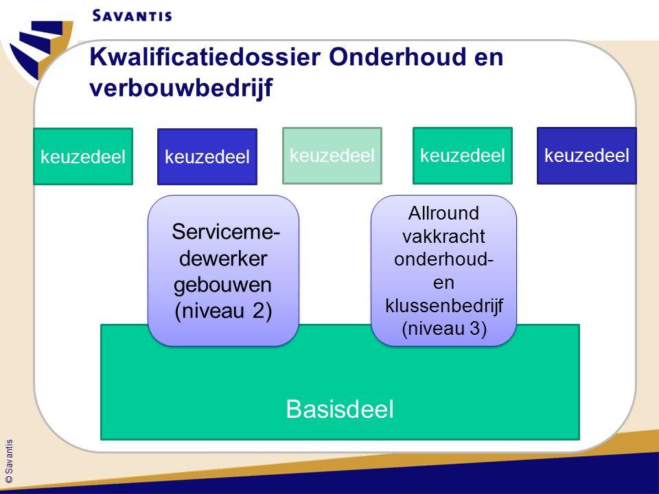 © Savantis Kwalificatiedossier Onderhoud en verbouwbedrijf Basisdeel keuzedeel Serviceme- dewerker gebouwen (niveau 2) Allround vakkracht onderhoud- en klussenbedrijf (niveau 3)