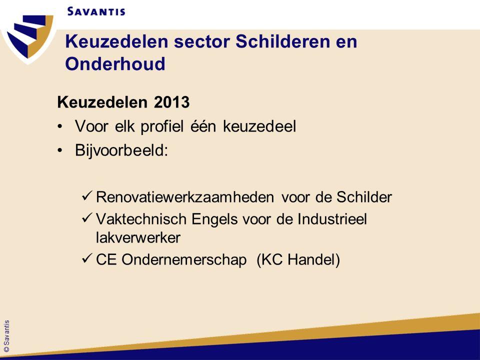 © Savantis Keuzedelen sector Schilderen en Onderhoud Keuzedelen 2013 Voor elk profiel één keuzedeel Bijvoorbeeld: Renovatiewerkzaamheden voor de Schilder Vaktechnisch Engels voor de Industrieel lakverwerker CE Ondernemerschap (KC Handel)
