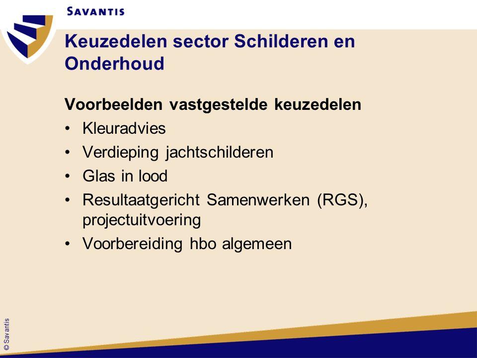 © Savantis Keuzedelen sector Schilderen en Onderhoud Voorbeelden vastgestelde keuzedelen Kleuradvies Verdieping jachtschilderen Glas in lood Resultaatgericht Samenwerken (RGS), projectuitvoering Voorbereiding hbo algemeen