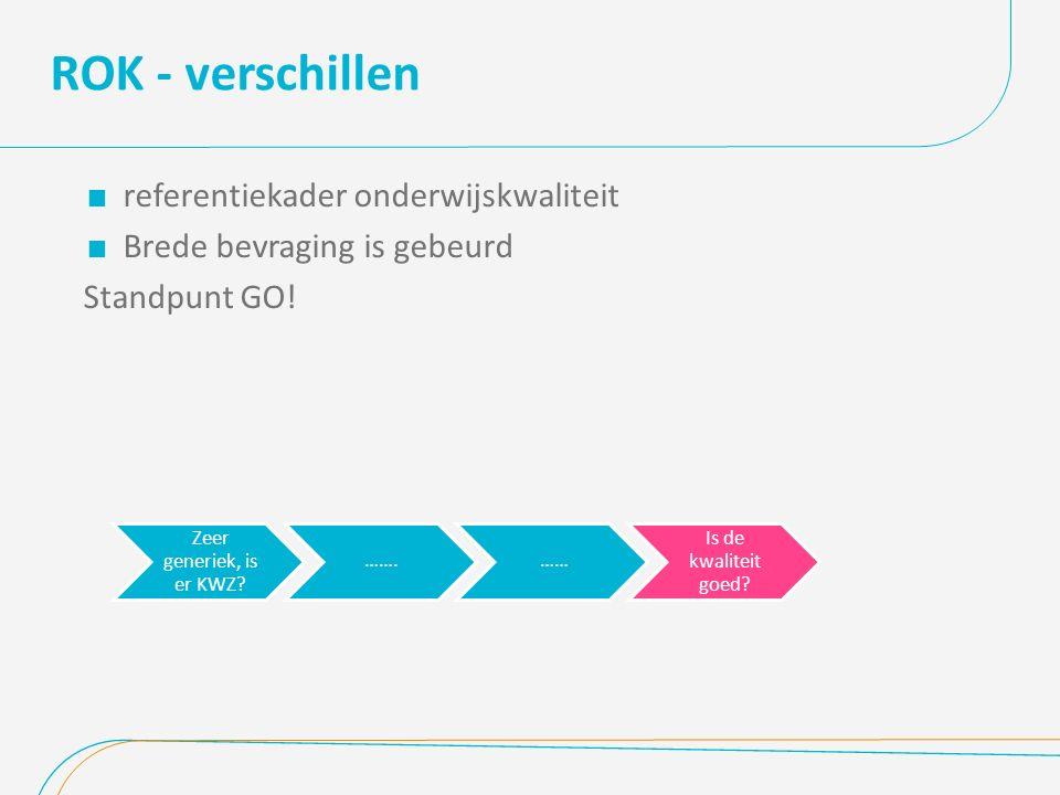 ROK - verschillen  referentiekader onderwijskwaliteit  Brede bevraging is gebeurd Standpunt GO.