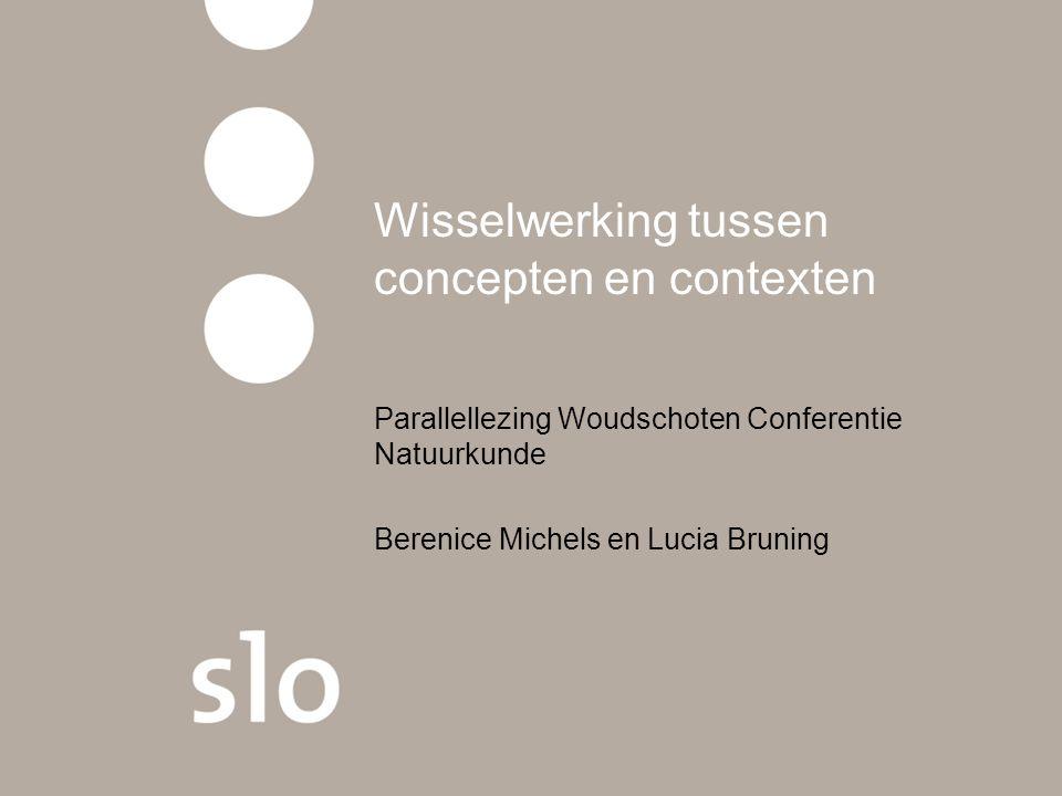 Wisselwerking tussen concepten en contexten Parallellezing Woudschoten Conferentie Natuurkunde Berenice Michels en Lucia Bruning
