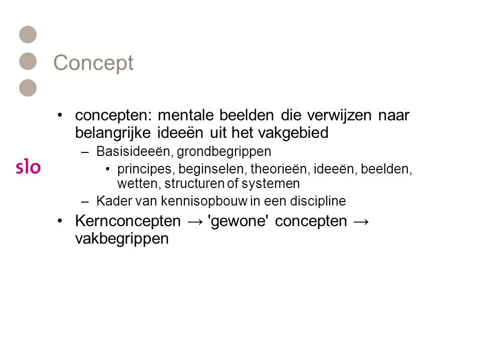 Concept concepten: mentale beelden die verwijzen naar belangrijke ideeën uit het vakgebied –Basisideeën, grondbegrippen principes, beginselen, theorie