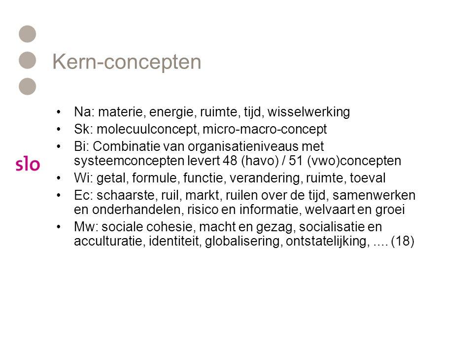 Kern-concepten Na: materie, energie, ruimte, tijd, wisselwerking Sk: molecuulconcept, micro-macro-concept Bi: Combinatie van organisatieniveaus met systeemconcepten levert 48 (havo) / 51 (vwo)concepten Wi: getal, formule, functie, verandering, ruimte, toeval Ec: schaarste, ruil, markt, ruilen over de tijd, samenwerken en onderhandelen, risico en informatie, welvaart en groei Mw: sociale cohesie, macht en gezag, socialisatie en acculturatie, identiteit, globalisering, ontstatelijking,....