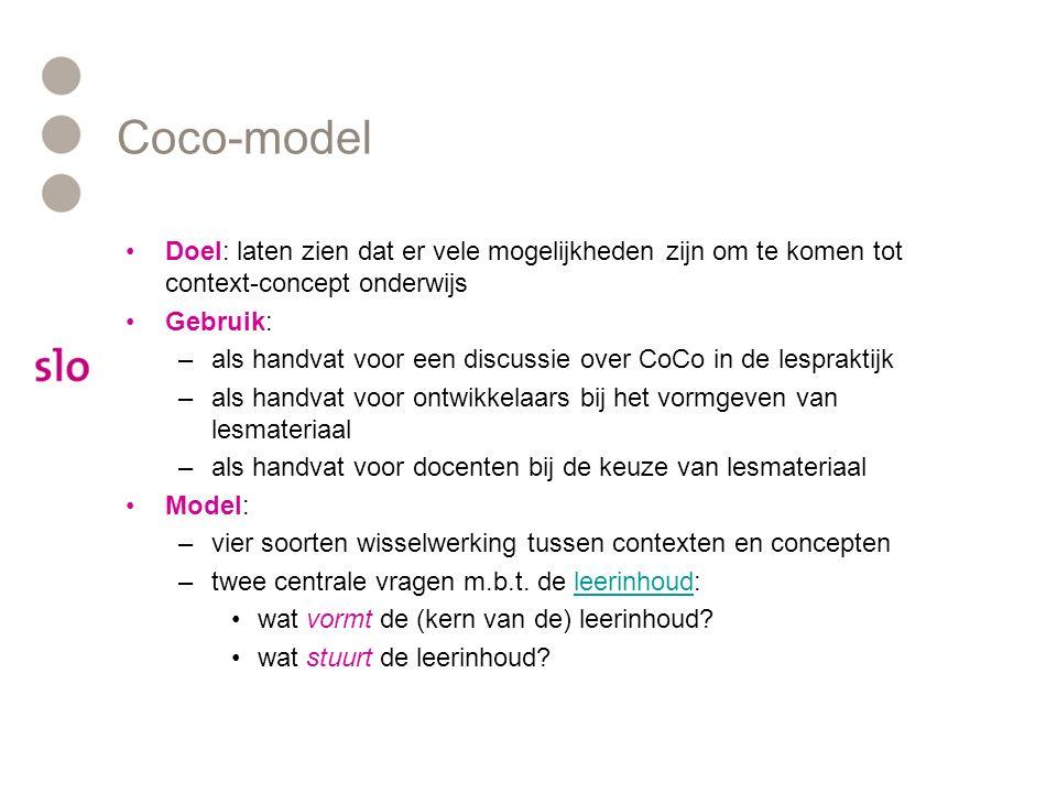 Coco-model Doel: laten zien dat er vele mogelijkheden zijn om te komen tot context-concept onderwijs Gebruik: –als handvat voor een discussie over CoC