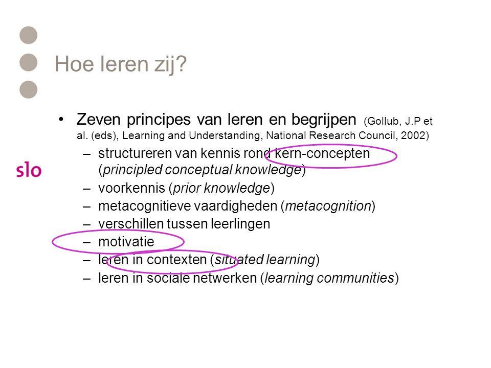 Hoe leren zij? Zeven principes van leren en begrijpen (Gollub, J.P et al. (eds), Learning and Understanding, National Research Council, 2002) –structu