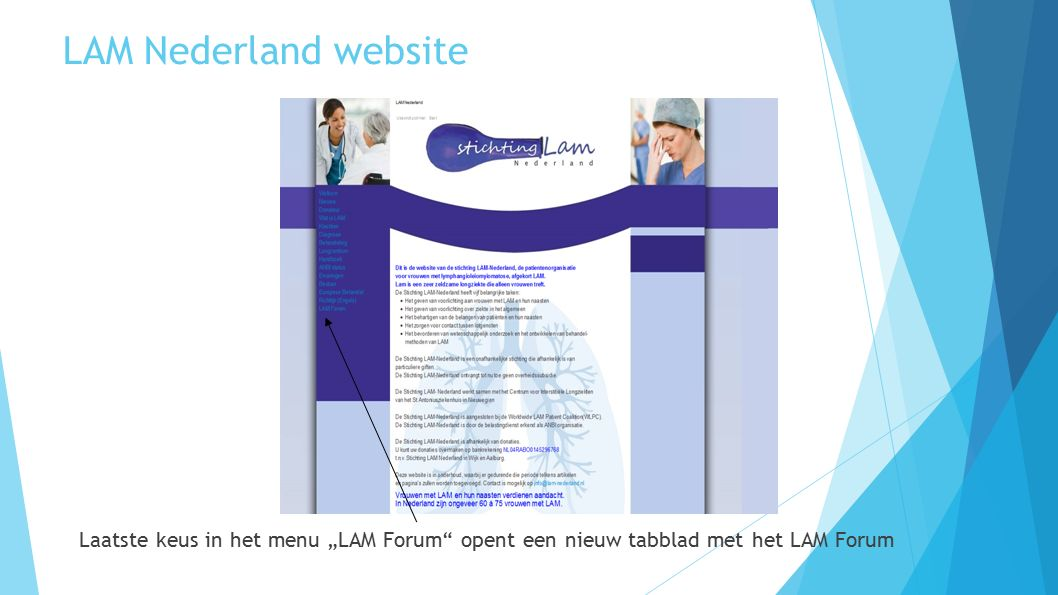 """LAM Nederland website Laatste keus in het menu """"LAM Forum"""" opent een nieuw tabblad met het LAM Forum"""