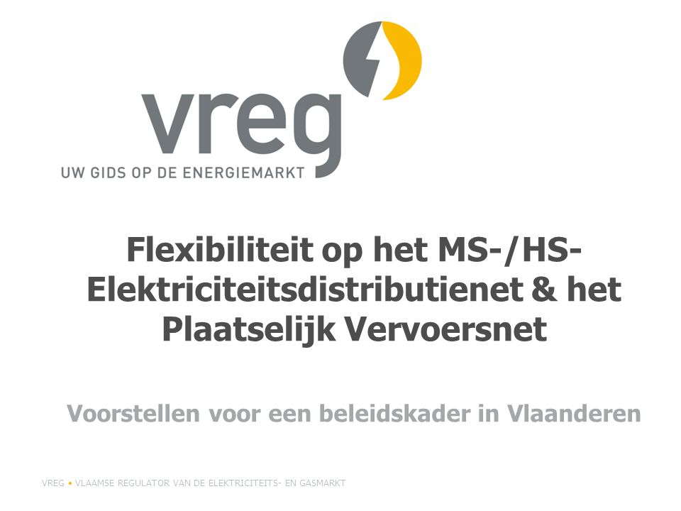 Flexibiliteit op het MS-/HS- Elektriciteitsdistributienet & het Plaatselijk Vervoersnet Voorstellen voor een beleidskader in Vlaanderen VREG VLAAMSE R