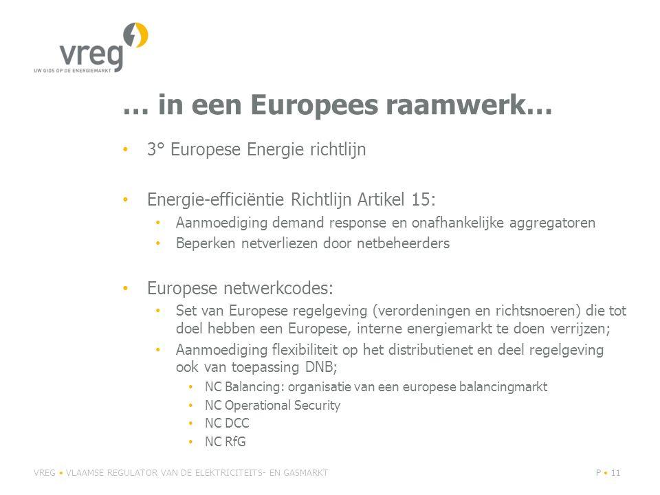 … in een Europees raamwerk… 3° Europese Energie richtlijn Energie-efficiëntie Richtlijn Artikel 15: Aanmoediging demand response en onafhankelijke agg