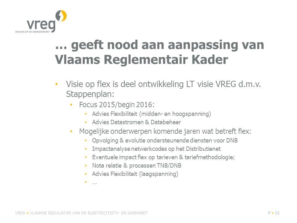 … geeft nood aan aanpassing van Vlaams Reglementair Kader Visie op flex is deel ontwikkeling LT visie VREG d.m.v. Stappenplan: Focus 2015/begin 2016: