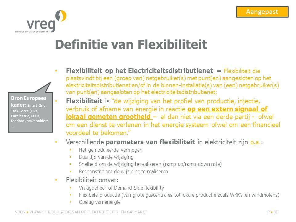 Definitie van Flexibiliteit Flexibiliteit op het Electriciteitsdistributienet = Flexibiliteit die plaatsvindt bij een (groep van) netgebruiker(s) met