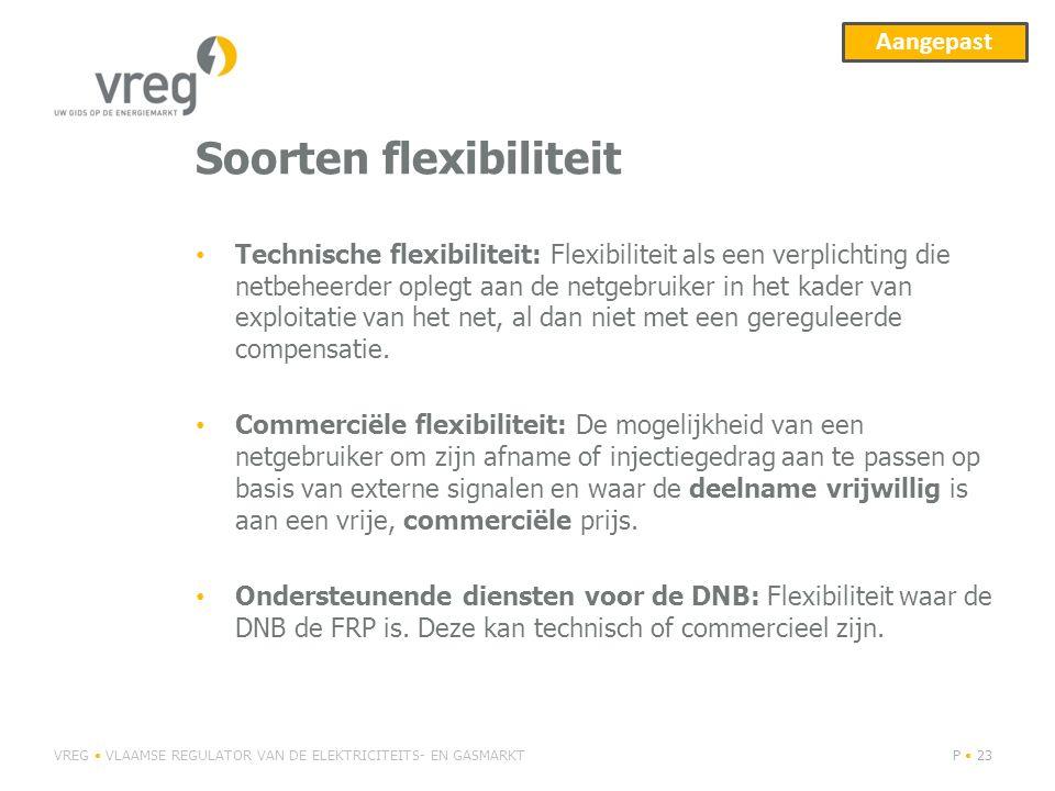 Soorten flexibiliteit Technische flexibiliteit: Flexibiliteit als een verplichting die netbeheerder oplegt aan de netgebruiker in het kader van exploi
