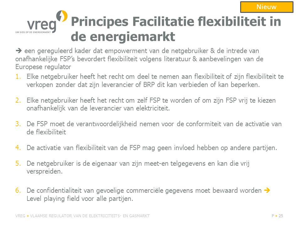 Principes Facilitatie flexibiliteit in de energiemarkt  een gereguleerd kader dat empowerment van de netgebruiker & de intrede van onafhankelijke FSP