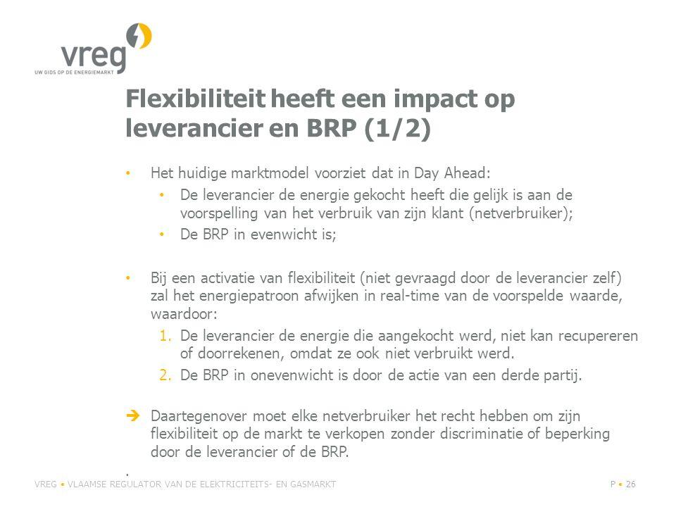 Flexibiliteit heeft een impact op leverancier en BRP (1/2) Het huidige marktmodel voorziet dat in Day Ahead: De leverancier de energie gekocht heeft d