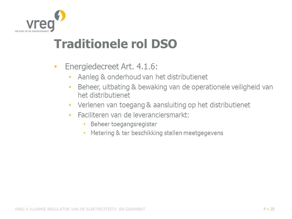 Traditionele rol DSO Energiedecreet Art.