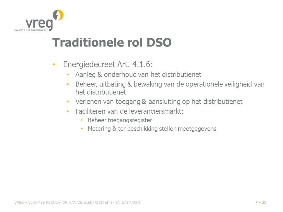 Traditionele rol DSO Energiedecreet Art. 4.1.6: Aanleg & onderhoud van het distributienet Beheer, uitbating & bewaking van de operationele veiligheid