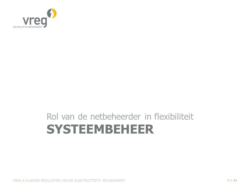 SYSTEEMBEHEER Rol van de netbeheerder in flexibiliteit VREG VLAAMSE REGULATOR VAN DE ELEKTRICITEITS- EN GASMARKTP 44