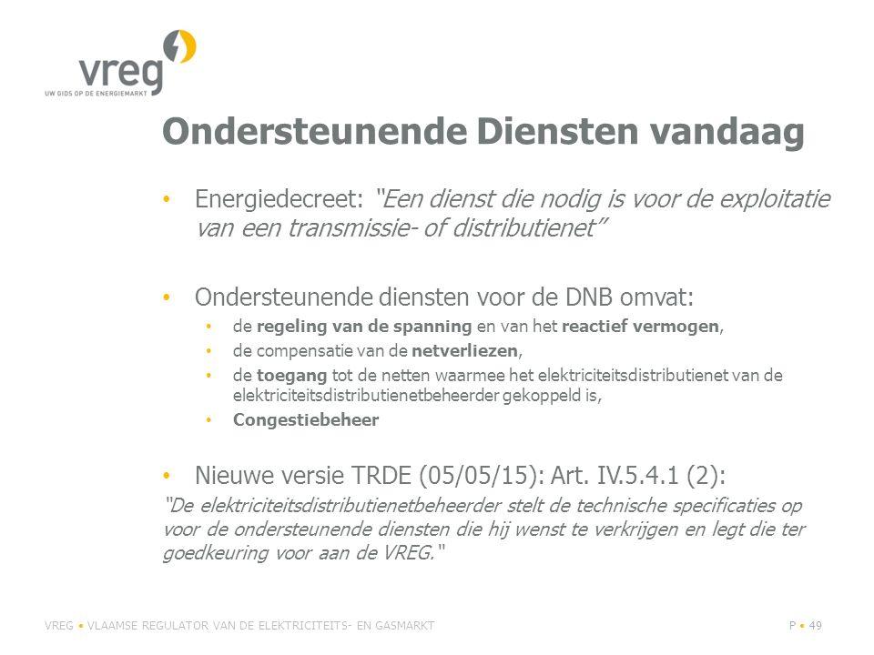 """Ondersteunende Diensten vandaag Energiedecreet: """"Een dienst die nodig is voor de exploitatie van een transmissie- of distributienet"""" Ondersteunende di"""