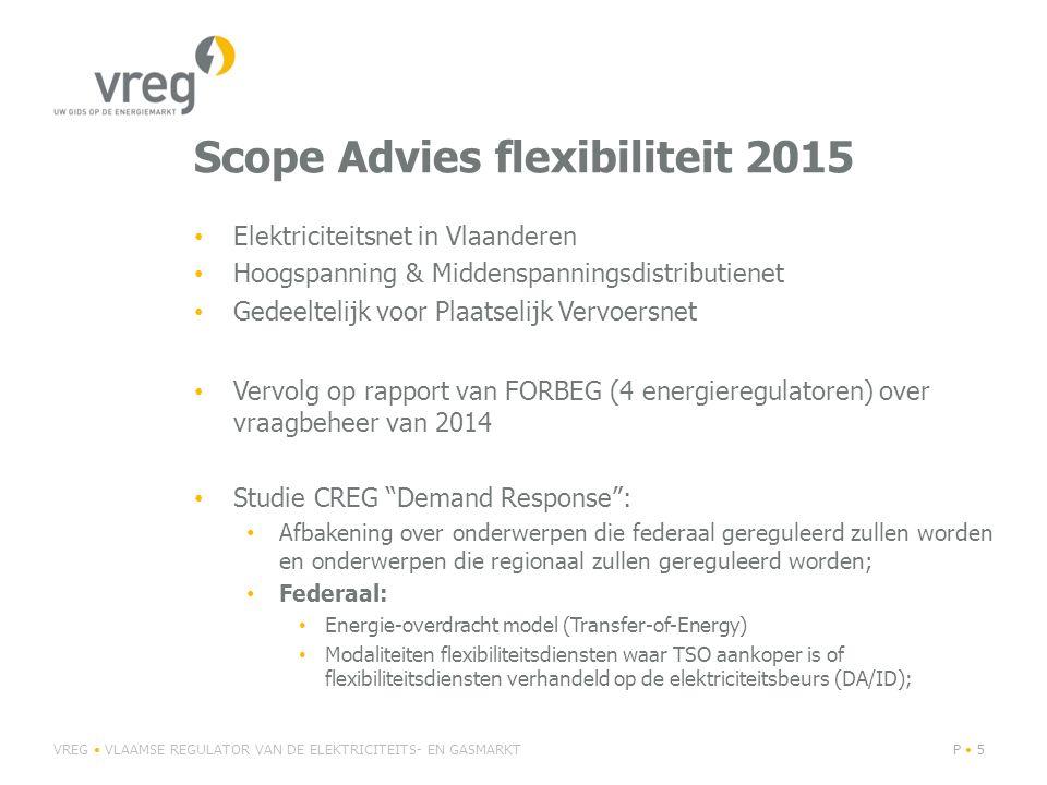 Scope Advies flexibiliteit 2015 Elektriciteitsnet in Vlaanderen Hoogspanning & Middenspanningsdistributienet Gedeeltelijk voor Plaatselijk Vervoersnet