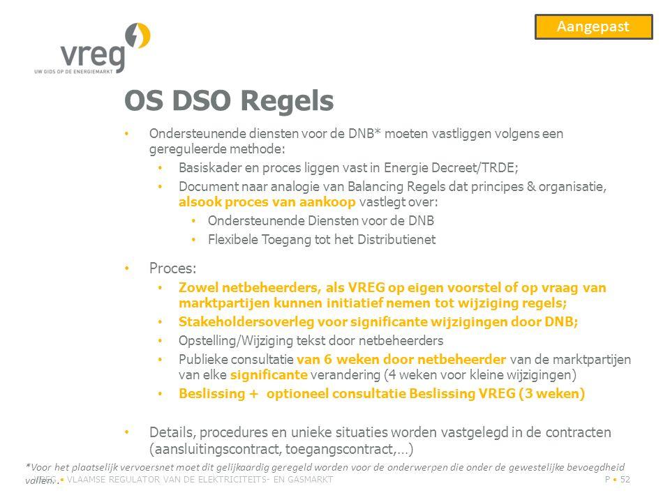 OS DSO Regels Ondersteunende diensten voor de DNB* moeten vastliggen volgens een gereguleerde methode: Basiskader en proces liggen vast in Energie Dec