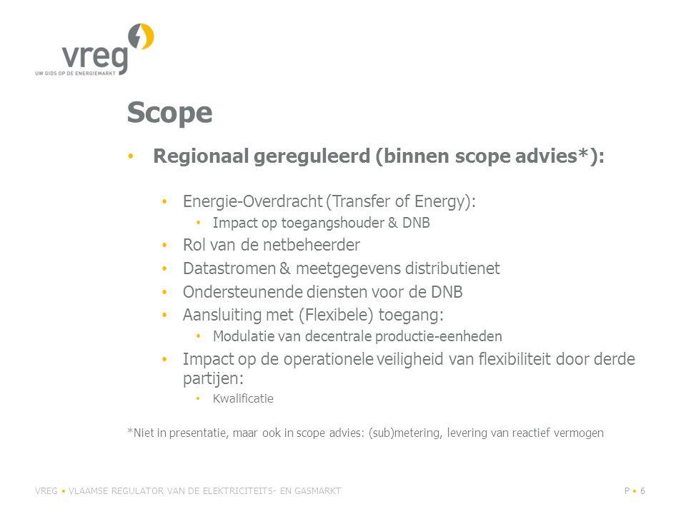 Scope Regionaal gereguleerd (binnen scope advies*): Energie-Overdracht (Transfer of Energy): Impact op toegangshouder & DNB Rol van de netbeheerder Da