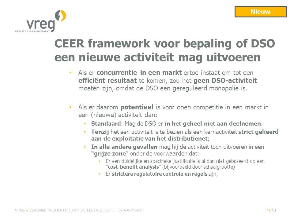 CEER framework voor bepaling of DSO een nieuwe activiteit mag uitvoeren VREG VLAAMSE REGULATOR VAN DE ELEKRICITEITS- EN GASMARKTP 61 Als er concurrent