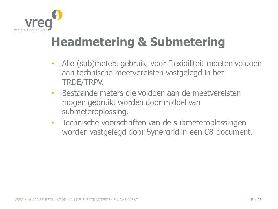Headmetering & Submetering Alle (sub)meters gebruikt voor Flexibiliteit moeten voldoen aan technische meetvereisten vastgelegd in het TRDE/TRPV. Besta