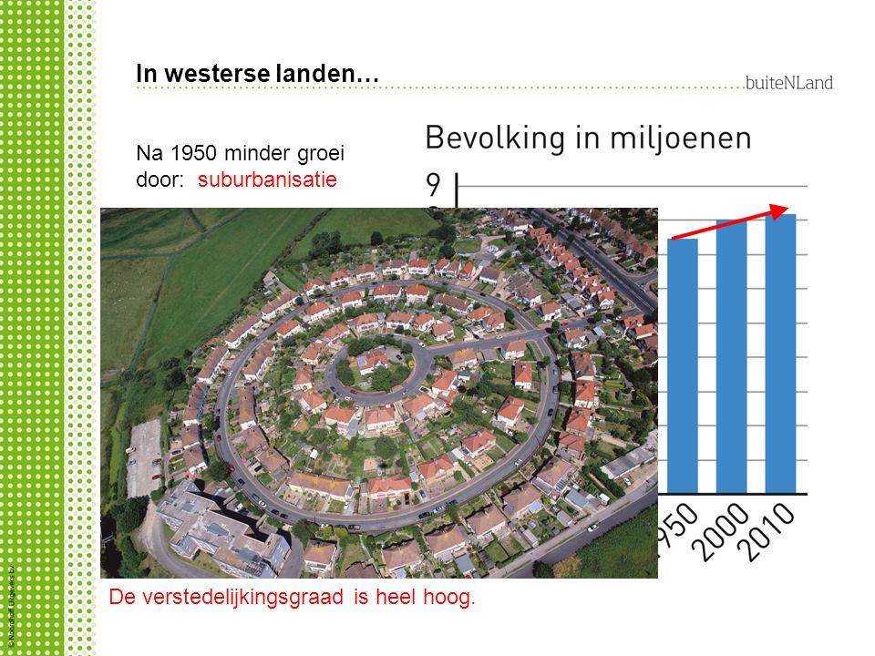 In westerse landen… Na 1950 minder groei door: suburbanisatie Wat is heel hoog.