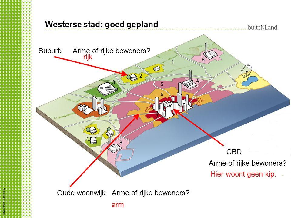 Westerse stad: goed gepland CBD Suburb Oude woonwijk Arme of rijke bewoners.